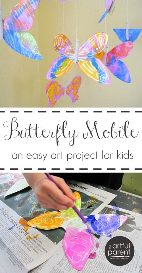 This easy butterfly art activity uses watercolor resist to create pretty butterflies to hang as a mobile. Includes a list of more butterfly art activities.  #kidscraft #kidsart #butterfly #printmaking #artsandcrafts #kidsactivities