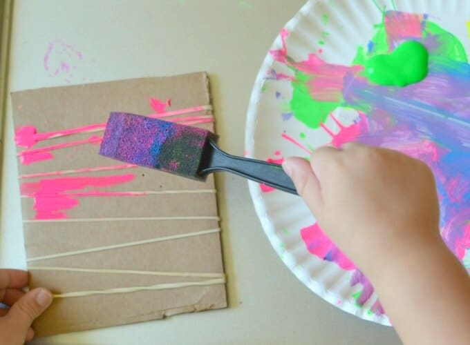 Rubber Band Printing for Kids - Adding Paint