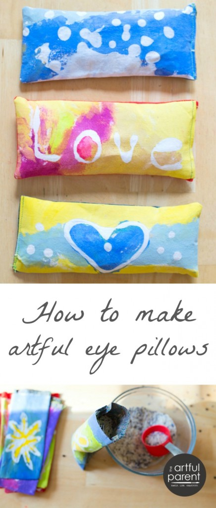 How to make eye pillows with lavender and glue batik decorated fabric. A great kid-made Mother's Day gift or teacher's gift! #kidscraft #handmade #mothersday #mothersdaygift #sewingtutorial #craftsforkids