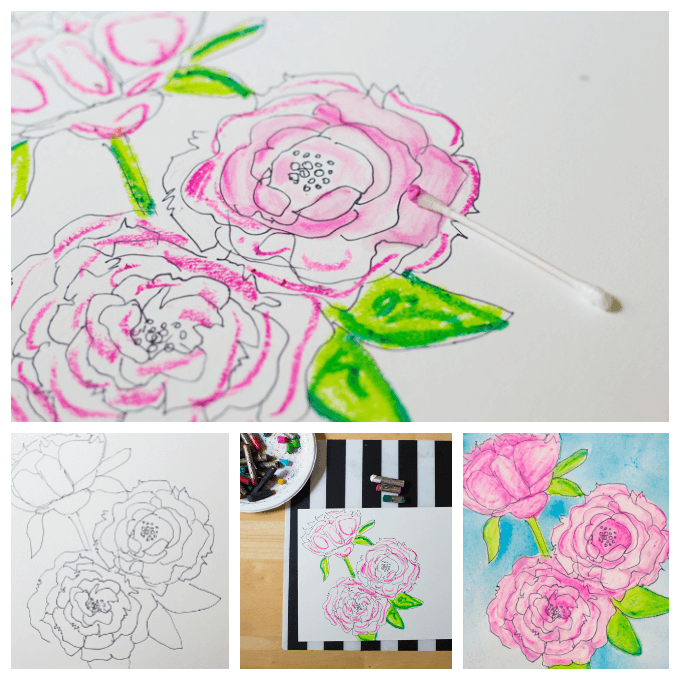 Oil Pastel Painting over A Line Drawing of Peonies