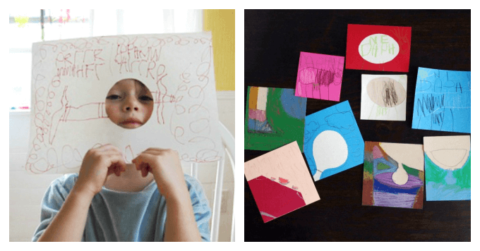 DIY Art Activity Pages for Kids - Hole and Other Challenge Drawings