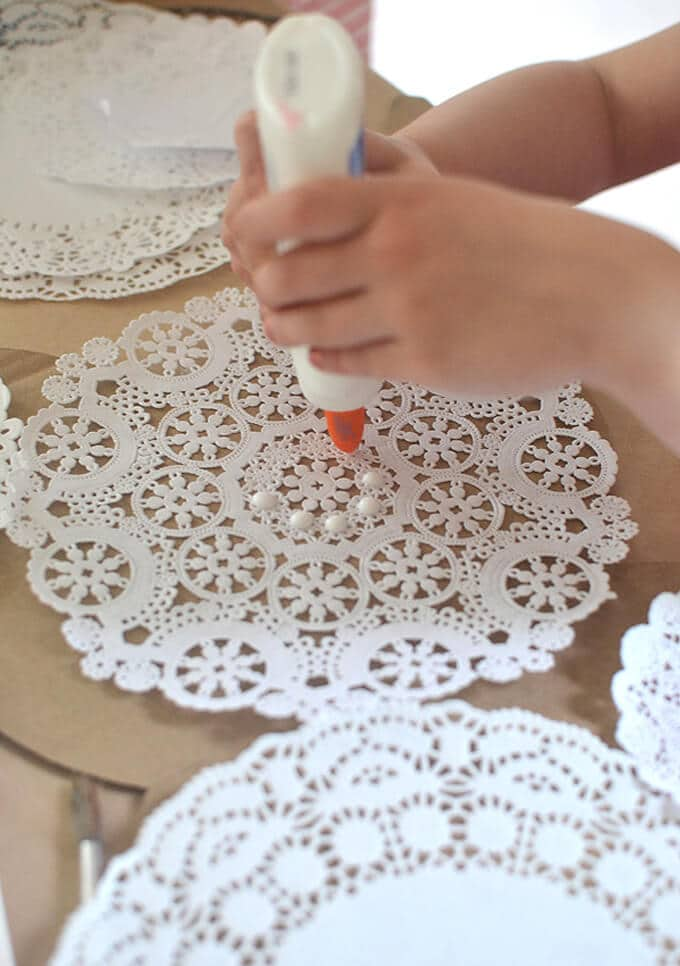 How to Make Fairy Wings - Adding the paper doilies