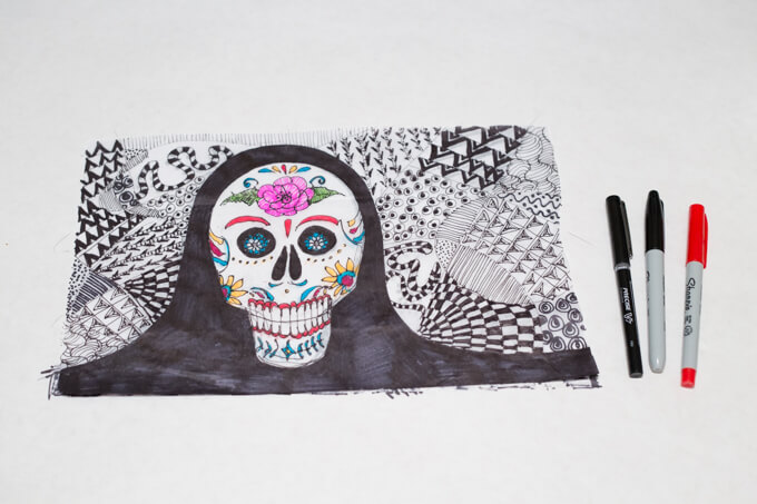 Zentangle and a Sugar Skull for a Tissue Paper Lantern