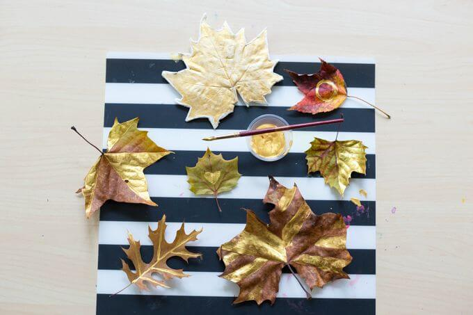 Create This Simple DIY Autumn Leaf Wreath For Fall - Painting Autumn Leaves