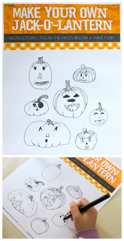 Fill in the Faces Jack O Lantern Drawing Prompt for Kids