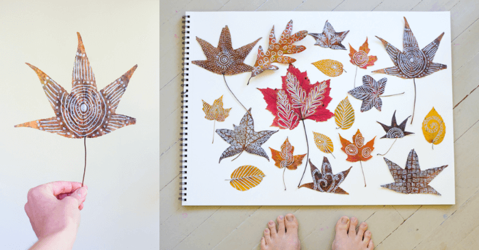Make Zentangle Leaves on Autumn Leaves