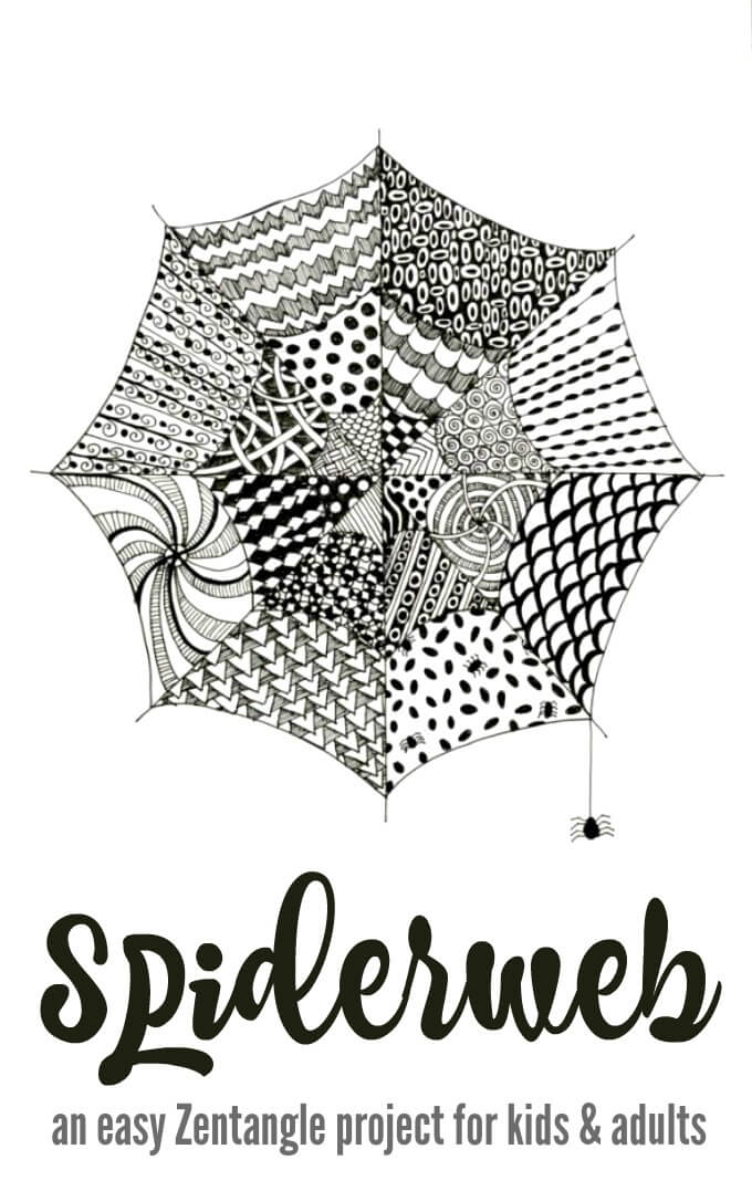 Tangle Spiderwebs - Easy Zentangle for Kids and Adults