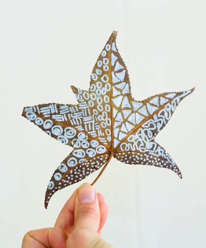 Zentangle Leaves on Real Autumn Leaves
