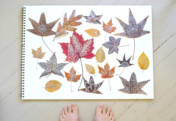 Zentangle Leaves with Real Autumn Leaves