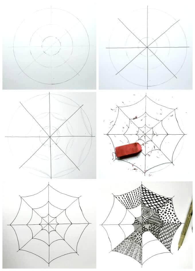Zentangle Spiderweb for Kids Step by Step Instructions