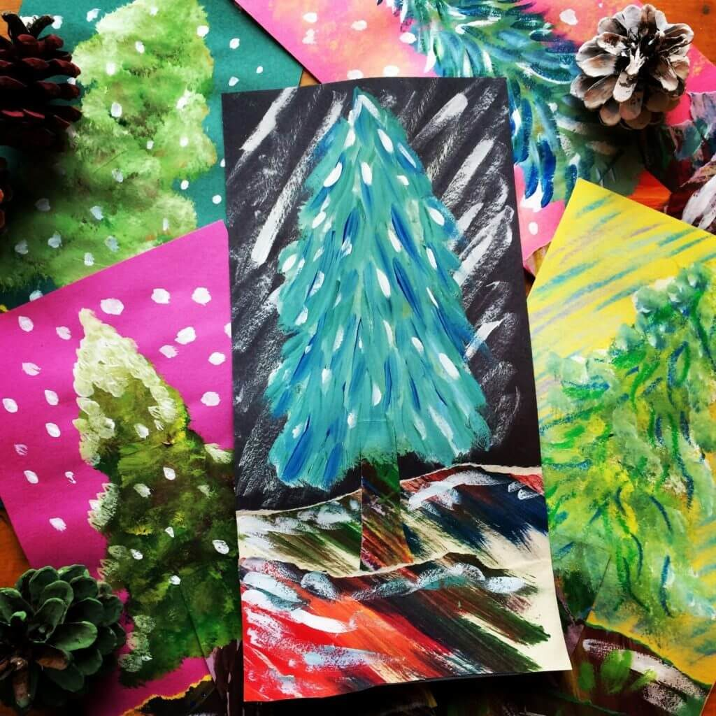 Alpine Trees from Painted Paper Art