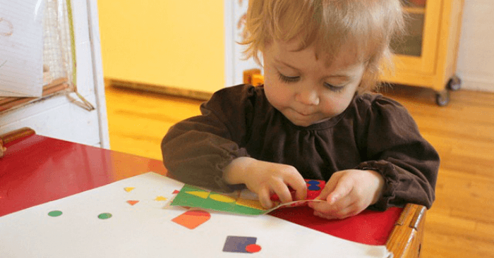 Toddler Art with Geometric Sticker Shapes