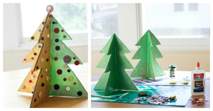 a christmas tree craft with cardboard and buttons