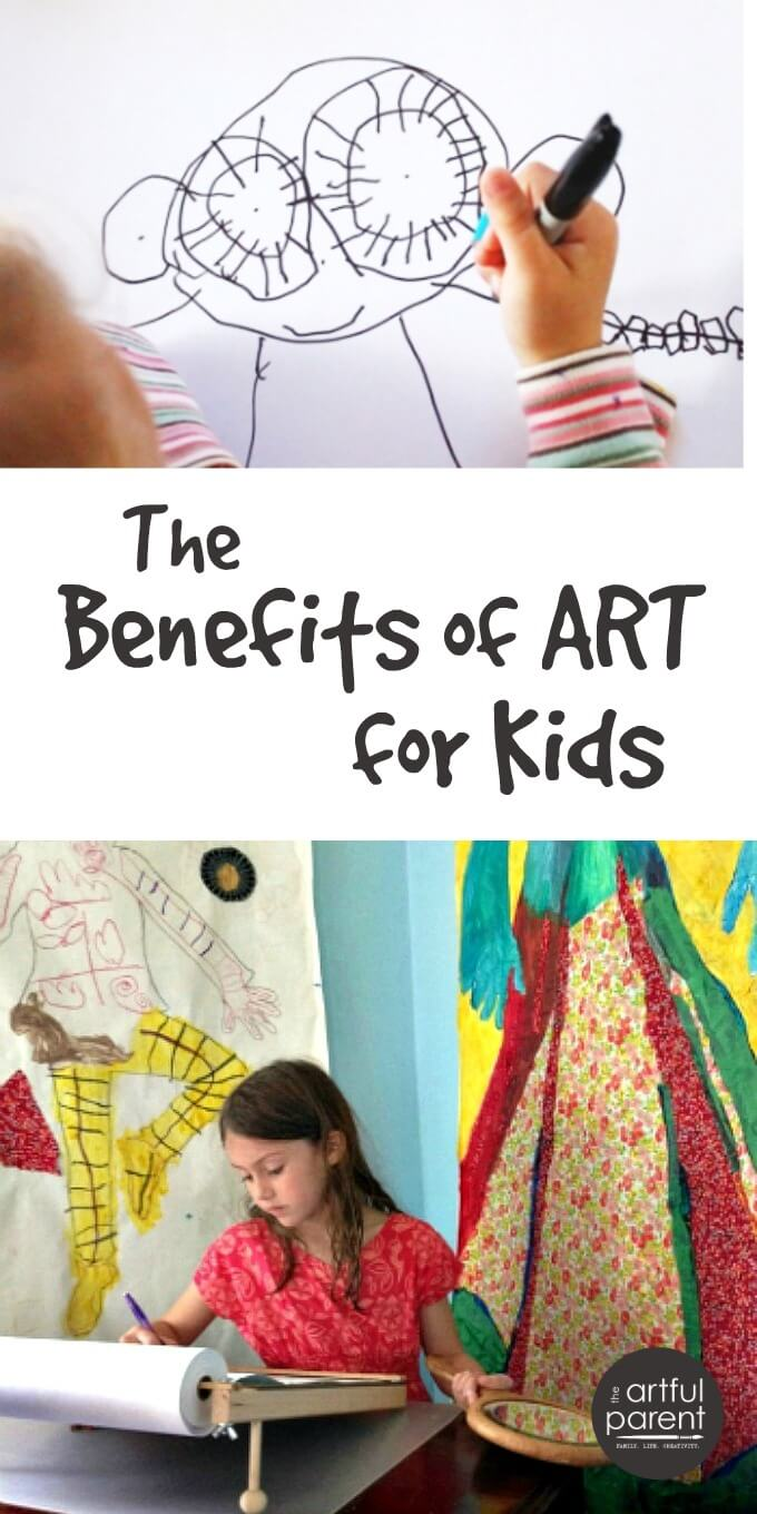 The benefits of art for kids are many and include problem-solving abilities, creativity, literacy, fine & gross motor skills, connection, and understanding.