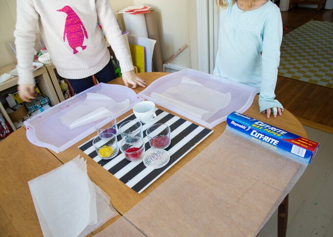 Setting up for melted crayon stained glass