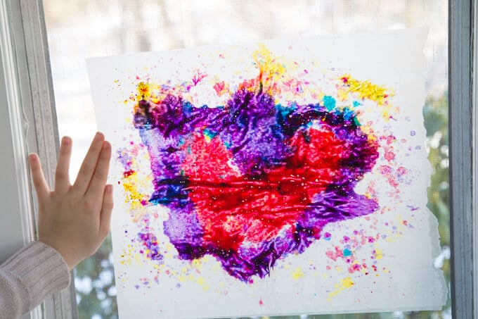 Melted Crayon Stained Glass Heart Art