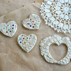 Lace Hearts :: Clay Ornaments and Magnets