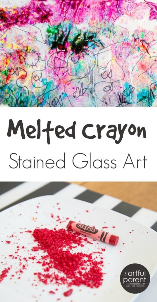 How to make melted crayon stained glass art with kids using grated crayons and wax paper. Add marker drawings on top for an added creative dimension!