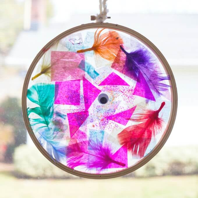 Tissue Paper Suncatcher Craft in Embroidery Hoop Frame