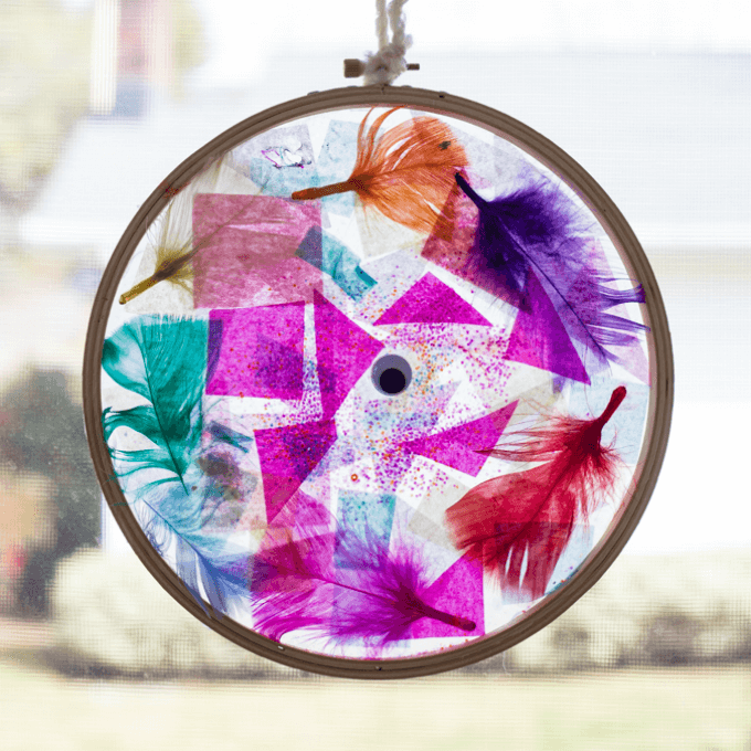 Tissue Paper Suncatcher in Embroidery Hoop Frame