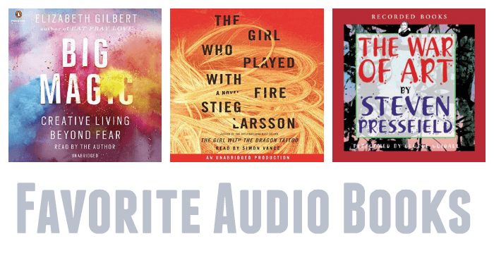 A list of favorite audio books, including fiction, nonfiction, and kids' books