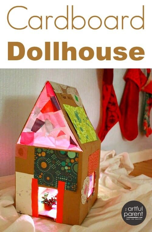 How to Make a Lighted Cardboard Dollhouse with Kids