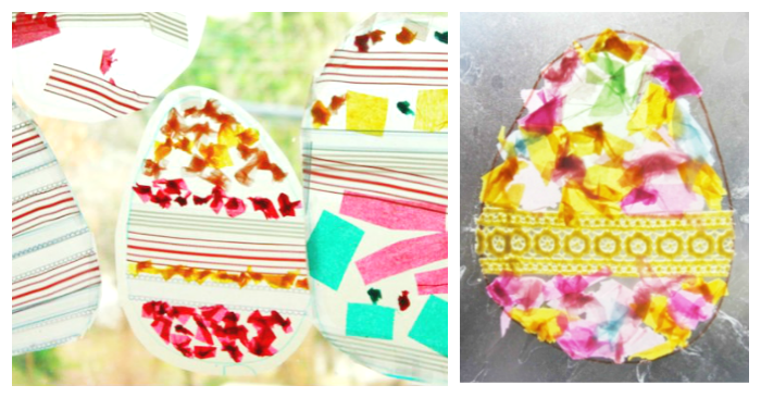 Make Easter Egg Suncatchers with Tissue Paper