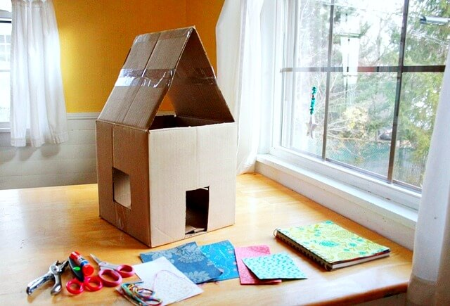Materials to Make a Lighted Cardboard Dollhouse