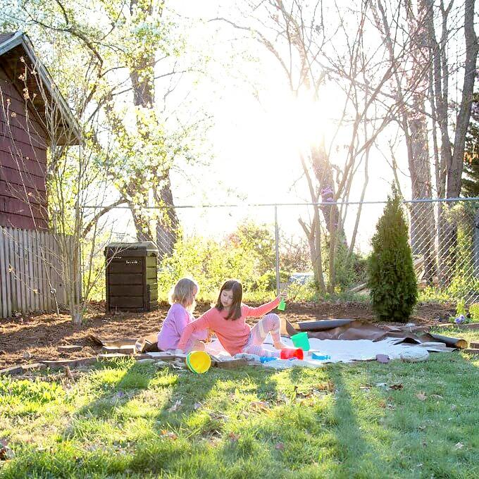 children playing in a kid friendly backyard