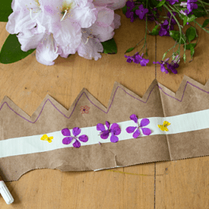 Simple Flower Crowns for Kids from Paper Bags