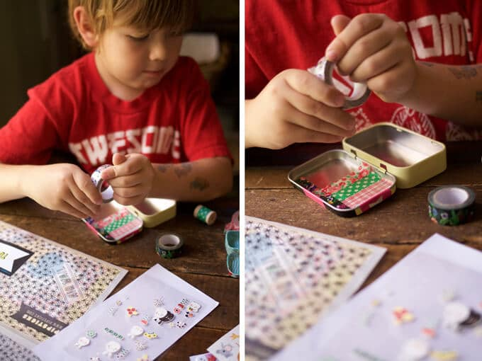 A treasure tin sticker craft for kids