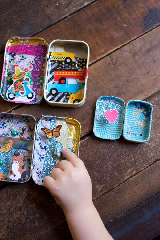 Sticker treasure tins - a sticker craft for kids