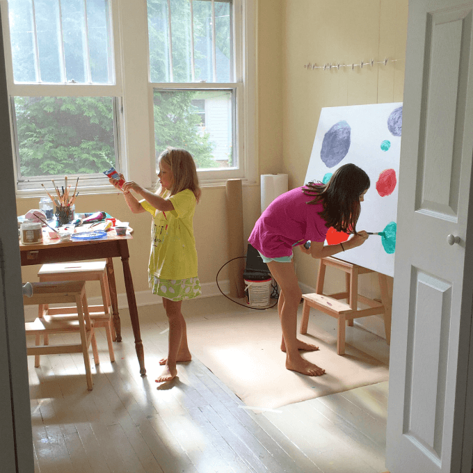 Kids Art Room: Canvas Art With Kids :: Tips On Working Large And On The Cheap