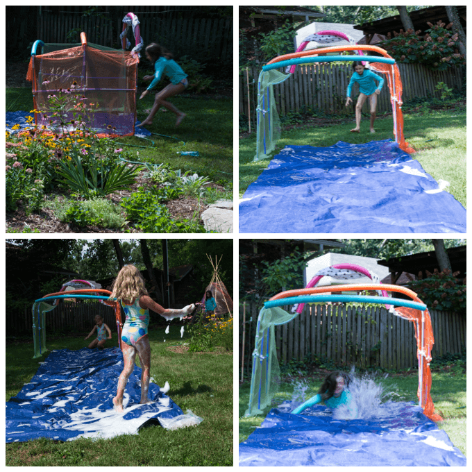 DIY Slip N Slide in Action