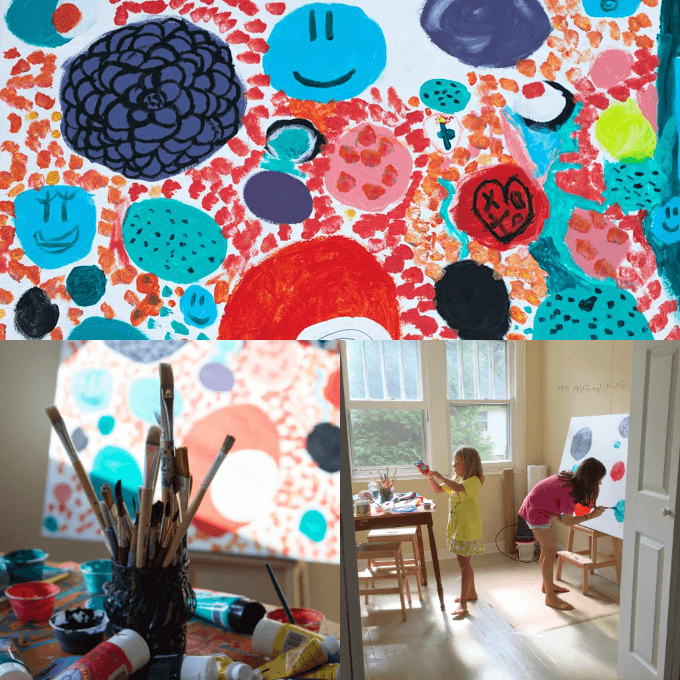 Canvas Art with Kids :: Tips on Working Large and on the Cheap