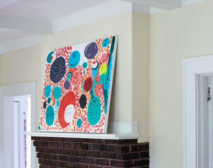 Kids Canvas Art Over Mantel