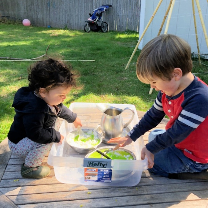 children playing with oobleck