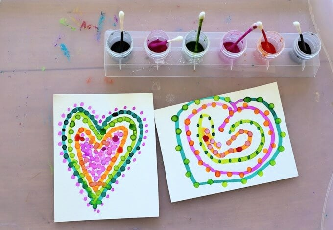 hearts made with pointillism