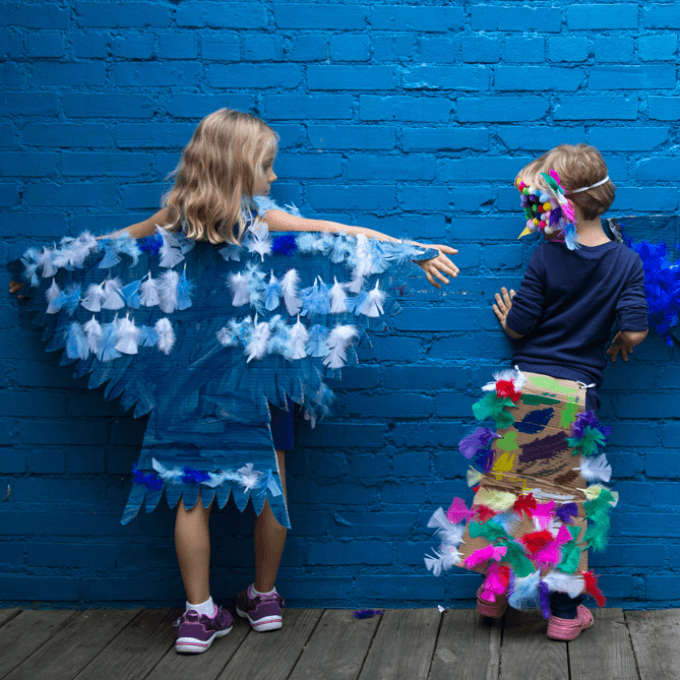Costume Making Tips for Kids - Cardboard Bird Wings and Tails