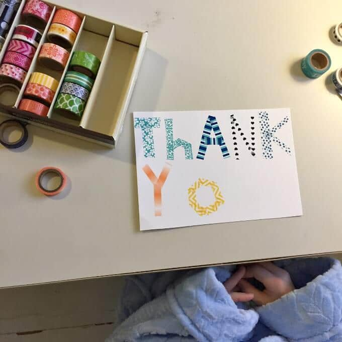 Thank you cards for kids make one and copy it for How do you use washi tape
