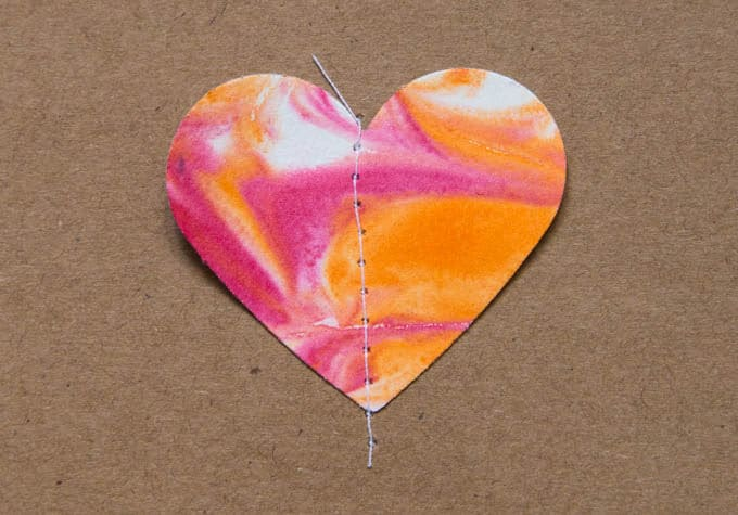 Sew Paper Heart onto Blank Card for Valentines Day