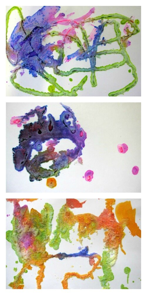 Salt Watercolors Art Activity for Kids - Finished Artworks