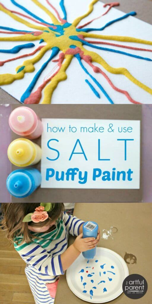 How to make and use DIY salt puffy paint with kids (with a video showing the art activity in action). This is a tried-and-true favorite process art material and technique for children of all ages. #kidsart #kidsactivities #artsandcrafts #painting #sensory #sensoryactivities