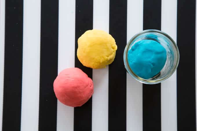 No Cook Playdough in Red, Yellow and Blue