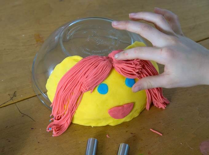 Adding Garlic Press Hair to Playdough Face