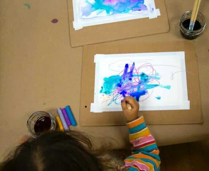 Watercolor Resist Art - Adding Watercolors Over Oil Pastel Drawing