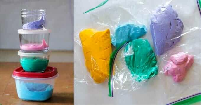 Store Homemade Fluffy Slime in Covered Containers
