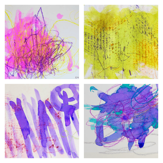 Watercolor Resist Art with Young Children - Finished Artworks