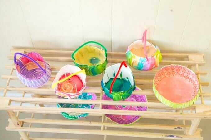 DIY Mini Easter Baskets from Paper Plates - Drying on Drying Rack