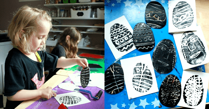 Styrofoam Printmaking with Kids for Everyday Art and Holiday Cards